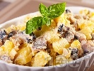 Рецепта Картофена салата с пушена скумрия, майонеза и лимонов сок (без лук)